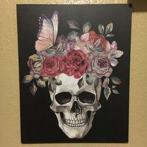 Floral skull wall art